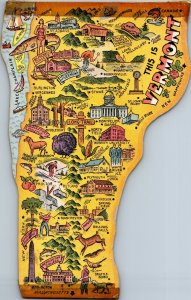 Vermont illustrated map oversized die cut vintage postcard jumbo great pictures