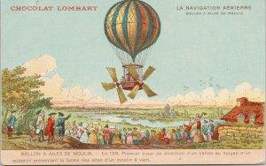 Chocolat Lombart Advertising La Navigation Aérienne Hot Air Balloon Postcard E75