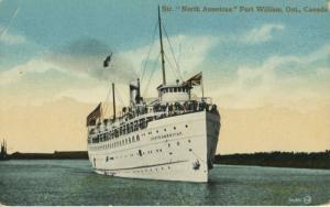 Steamer 'North American' Fort Williams Ontario ON Unused Vintage Postcard E12