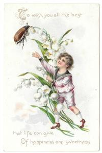 Tuck Birthday Postcard Boy Sailor Suit Beetle Insect Lily