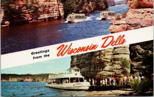 Greetings from Wisconsin Dells WI Clipper Winnebago Boats Unused Postcard F65