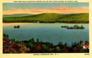 NY - Adirondacks, Fourth Lake. Dollar & Cedar Islands