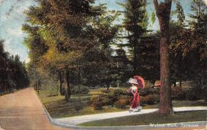 Syracuse New York~Wanut Park~Victorian Lady With Pink Parasol~1912 Postcard