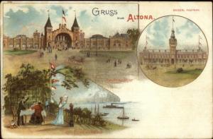 Gruss Aus Altona Germany Multi-View c1900 Postcard