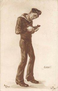 US3140 Military Man Ebbe Postcard  navy sailor Signed Wietz