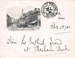 Chelmsford, England, Postcard Used in 1907, sent to France, Postage Due Marking