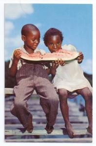 Children Eating Watermelon Black Americana Chrome Postcard