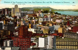 California San Francisco Portion Of The Skyline San Francisco Bay and Mt Tama...