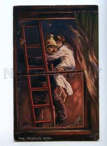 189471 Firefighter in Fire HERO by WALKER Vintage TUCK #9306