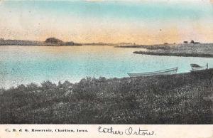 Chariton Iowa Reservoirt Waterfront Antique Postcard K83015