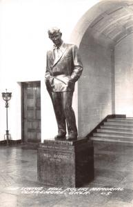 CLAREMORE OKLAHOMA WILL ROGERS MEMORIAL STATUE REAL PHOTO POSTCARD c1950s