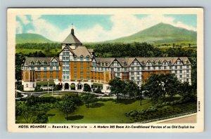 Roanoke VA, Hotel, English Inn Design Fountain, Chrome Virginia c1952 Postcard