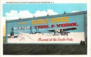 Washington NJ Billboard Tydol Veedol Motor Oil Airplane South Pole Postcard