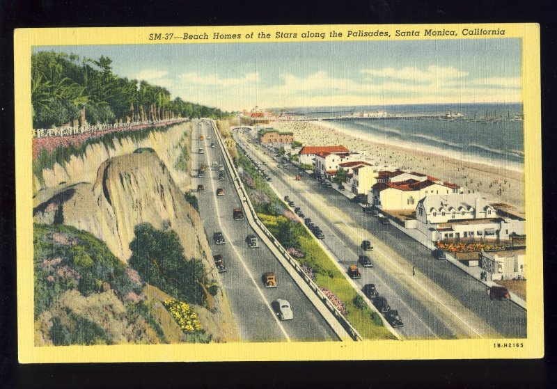 Santa Monica, California/CA Postcard, Movie Stars Beach Houses Along Palisades