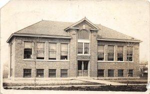 G33/ Low Moor Iowa RPPC Postcard 1915 Public School Building