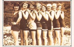 Bathing beauties, Lovely Girls Pose, Swimwear suit I.o.M. 1927 Nostalgia Reprint