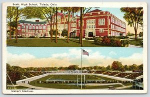 Toledo Ohio~Scott High School~Siebert Football Stadium~Game Day~1929 Postcard