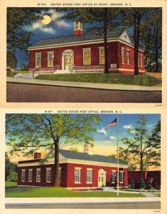 BREVARD NC North Carolina POST OFFICE Day & Night~Full Moon *2 c1940s Postcards