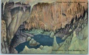 Vintage 1940s INDIAN ECHO CAVERNS Postcard Crystal Lake Hummelstown PA Linen