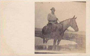 Man Riding Horse Real Photo RPPC