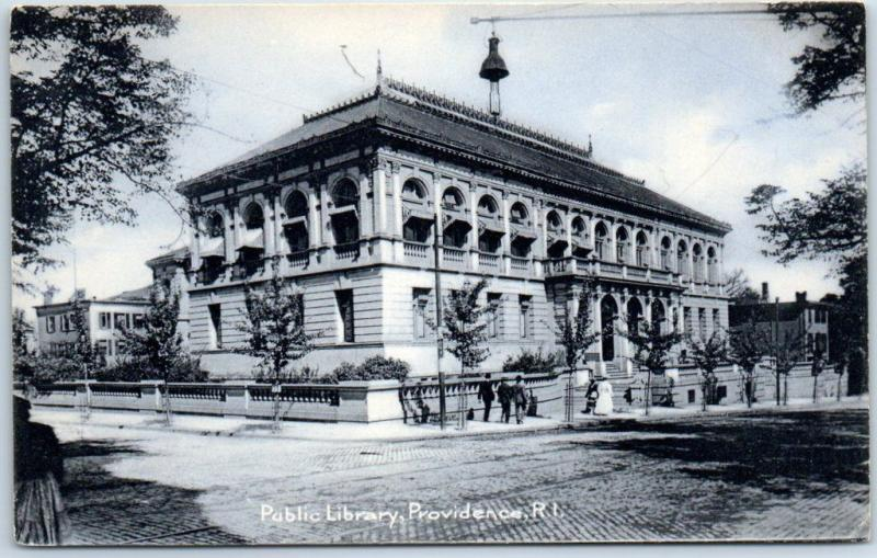 Providence, Rhode Island Postcard Public Library Building View Rotograph 1900s