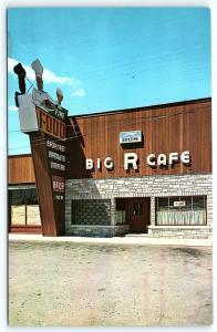 Postcard MI Powers Big R Cafe Beer to Go Greyhound Bus Stop R27