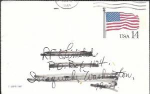 US UX117 Used. US Flag, Crease.