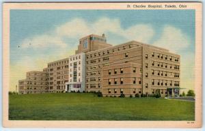 TOLEDO, Ohio  OH    ST. CHARLES HOSPITAL   ca 1940s Linen  Postcard
