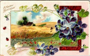 Antique TUCK'S EMBOSSED - A HAPPY BIRTHDAY ~PURPLE Flowers PC