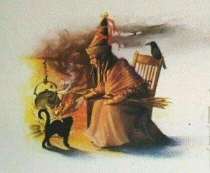 Vintage Halloween Postcard Witch Crow Cauldron Black Cat Gibson Unused Original