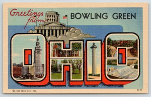 Bowling Green Ohio~1940s State Large Letter Linen~Capitol~Monument~1939 Postcard