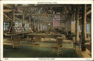 Rainier National Park Paradise Inn Lobby c1920 Postcard