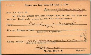 1934 AMERICAN SOCIETY OF CIVIL ENGINEERS Business Postcard Year Book Order Form