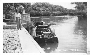 RPPC Speed Boat Rides, Christoval, Texas Johnson Seahorse Vintage Photo Postcard