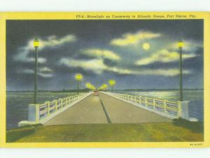 Unused Linen BRIDGE SCENE Fort Pierce Florida FL HQ9978