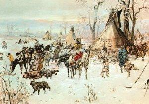 Vintage Postcard Hunter's Return By Charles Marion Rusell Montana Art