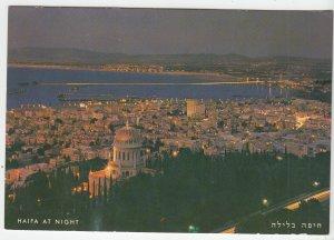 P1995, vintage postcard birds eye view haifa at night israel