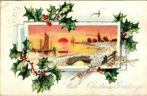VTG 1908 Tucks Winter Ocean Scene Church Silver Gilt Christmas Greeting Postcard
