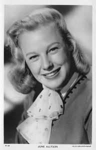 June Allyson Postcard Actress, Movie Star Post Card Unused