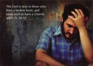 Postcard Bible Verse PSALM 34:18 The Lord is near to those .... Broken Heart E3