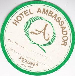 Malaysia Penang Hotel Ambassador Vintage Luggage Label sk1114