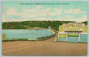 Lake of the Ozarks Missouri~Bagnell Dam South Approach~Standard Chrome Postcard