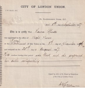 London Victorian Night Nurse 1897 Union Resignation Certificate