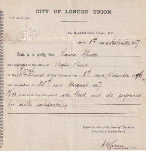 London Victorian Night Nurse 1897 Union Resignation Certificate