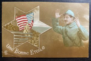 Mint France Patriotic Picture Postcard PPC A Good Star American Army WWI