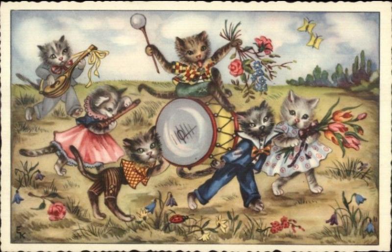 Kitty Cat Music Band Fantasy Signed EK Old Postcard
