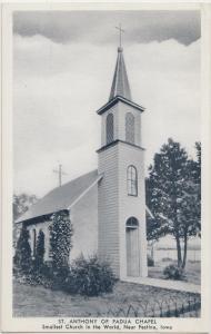 Old FESTINA Iowa Ia Postcard SMALLEST CHURCH IN THE WORLD St ANthony of Padua