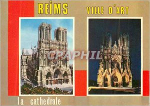 Modern Postcard Reims (Marne) the Day and Night Cathedrale