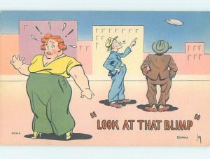 Linen comic signed FAT WOMAN MISTAKENLY THINKS SHE WAS CALLED A BLIMP HL3481