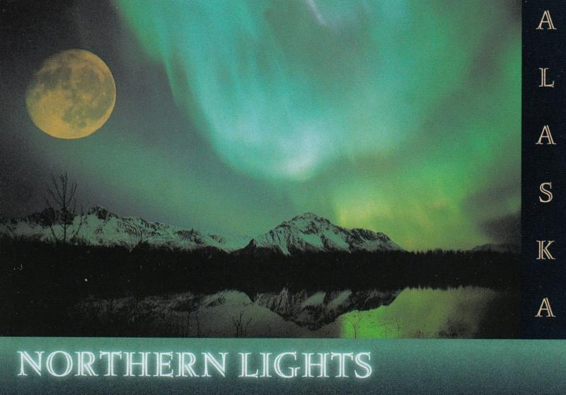 ALASKA, 1980s; Northern Lights, Aurora Borealis, Full Moon
